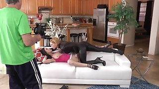 Behind the scenes, Jennifer White and Krissy Lynn intruder sex