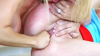 Top anal lesbian oral on the kitchen table with two blondes