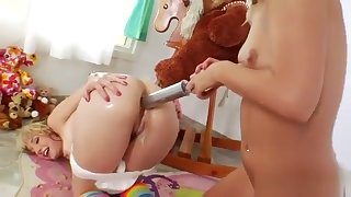 Frisky Lesbians Fill Up Their Massive Arses With Milk And Ej