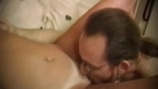 Vintage threesome porn where two babes fuck with one guy
