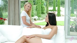 Not perfect but still lovely hot Jenny Saphire is eager to get her wet pussy teased