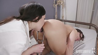 Kinky lesbian mistress Juliette March fucks filial bitch with strapon and underpinning