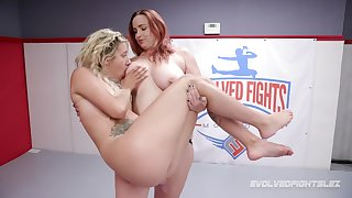 Lesbian wrestling and strapon sex with Mr Big Bella Rossi Together with Sophia Grace