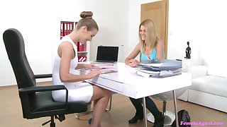 Girl on girl sex conduct oneself during a job interview anent Izzy Delphine