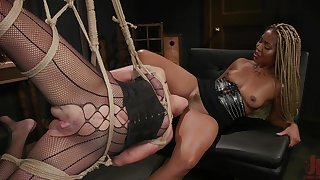 Duteous white cougar is fucked by black mistress Lotus Lain