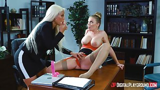 Homoerotic one on one sex on dramatize expunge table - Bridgette B and Britney Amber