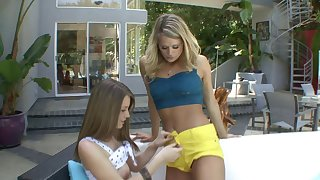 Teasing by the pool ends with lesbian sex - Heather Starlet and Delilah Blue