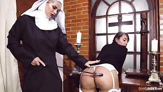 Passionate lesbian sex between four aberrant pornstars dressed as nuns