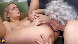 Girl seduces old granny