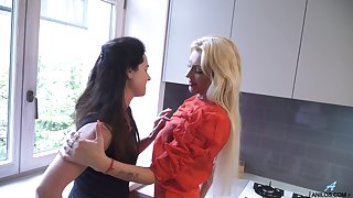 Adult lesbian housewives are toying with an increment of licking each others twats