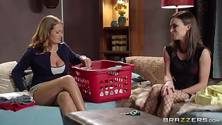 Elexis Monroe and Lily Love in stockings play with each backup