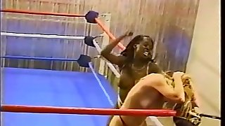 Topless interracial pro style wrestling upon body slams