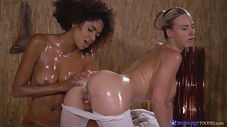 Blacklist toddler Luna Corazon massaged and pleasured hard by a white chick