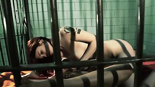 Oddball lesbian hotties fuck each other hard in a lock-up cell